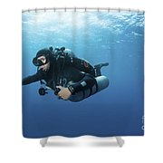 Technical Diver With Equipment Swimming Shower Curtain by Karen Doody