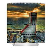 Tel Aviv Lego Shower Curtain by Ron Shoshani