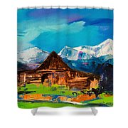 Teton Barn  Shower Curtain by Elise Palmigiani