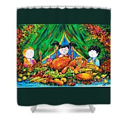 Thanksgiving Day Shower Curtain by Zaira Dzhaubaeva