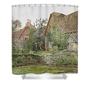 Thatched Cottages And Cottage Gardens Shower Curtain by John Fulleylove