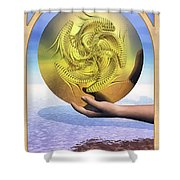 The Ace of Coins Shower Curtain by John Edwards