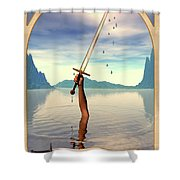 The Ace Of Swords Shower Curtain by John Edwards
