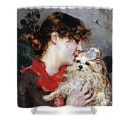 The actress Rejane and her dog Shower Curtain by Giovanni Boldini