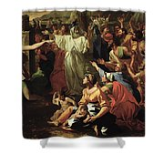 The Adoration of the Golden Calf Shower Curtain by Nicolas Poussin