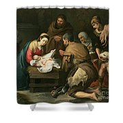 The Adoration Of The Shepherds Shower Curtain by Bartolome Esteban Murillo