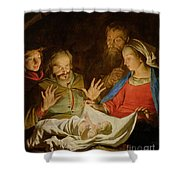 The Adoration Of The Shepherds Shower Curtain by Matthias Stomer