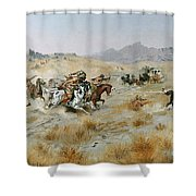 The Attack Shower Curtain by Charles Marion Russell