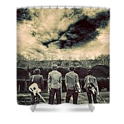 The Band Has Arrived Shower Curtain by Meirion Matthias