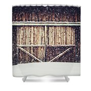 The Barn In Winter Shower Curtain by Lisa Russo