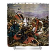 The Battle Of Poitiers Shower Curtain by Charles Auguste Steuben