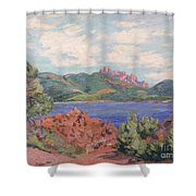 The Bay Of Agay Shower Curtain by Jean Baptiste Armand Guillaumin