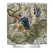 The Blind Leading The Blind Shower Curtain by Tissot