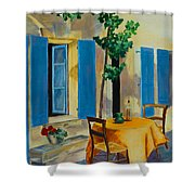 The Blue Shutters Shower Curtain by Elise Palmigiani
