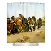 The Boatmen On The Volga Shower Curtain by Ilya Efimovich Repin
