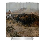 The Buffalo Hunt Shower Curtain by Charles Russell