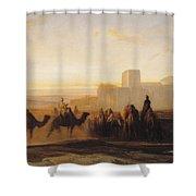 The Caravan Shower Curtain by Alexandre Gabriel Decamps