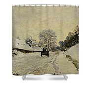 The Cart Shower Curtain by Claude Monet