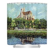 The Cathedral At Auxerre Shower Curtain by Gustave Loiseau