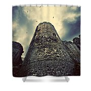 The Chapel Tower Shower Curtain by Meirion Matthias