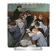 The Children's Class Shower Curtain by Henri Jules Jean Geoffroy