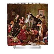 The Christmas Hamper Shower Curtain by Robert Braithwaite Martineau
