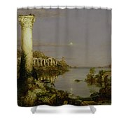 The Course Of Empire - Desolation Shower Curtain by Thomas Cole