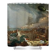The Course of Empire - Destruction Shower Curtain by Thomas Cole