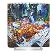 The Crawfish Boil Shower Curtain by Dianne Parks