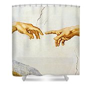 The Creation Of Adam Shower Curtain by Michelangelo Buonarroti