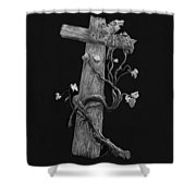 The Cross And The Vine Shower Curtain by Jyvonne Inman