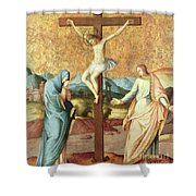 The Crucifixion With The Virgin And St John The Evangelist Shower Curtain by French School