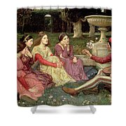The Decameron Shower Curtain by John William Waterhouse