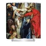 The Descent From The Cross Shower Curtain by Rubens