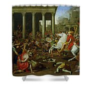 The Destruction Of The Temples In Jerusalem By Titus Shower Curtain by Nicolas Poussin