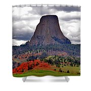 The Devils Tower WY Shower Curtain by Susanne Van Hulst