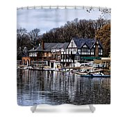 The Docks at Boathouse Row - Philadelphia Shower Curtain by Bill Cannon