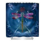 The Dragonfly Effect Shower Curtain by Bedros Awak