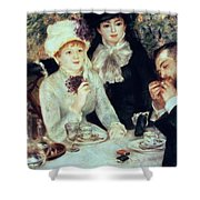 The End Of Luncheon Shower Curtain by Pierre Auguste Renoir