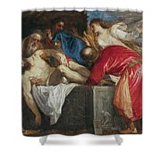 The Entombment of Christ Shower Curtain by Titian