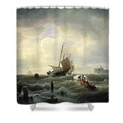 The Entrance To The Harbour At Hellevoetsluys Shower Curtain by Andreas Achenbach