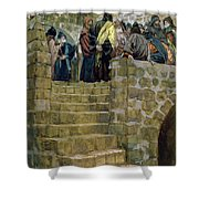 The Evil Counsel Of Caiaphas Shower Curtain by Tissot