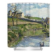 The Farm At Osny Shower Curtain by Camille Pissarro