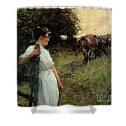 The Farmer's Daughter Shower Curtain by Henry Herbert La Thangue