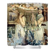 The Finding of Moses by Pharaoh's Daughter Shower Curtain by Sir Lawrence Alma-Tadema