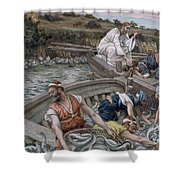 The First Miraculous Draught Of Fish Shower Curtain by Tissot