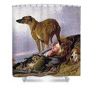 The First Watch Shower Curtain by Richard Ansdell