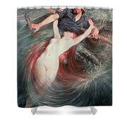 The Fisherman And The Siren Shower Curtain by Knut Ekvall