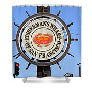The Fishermans Wharf Sign . San Francisco California . 7d14228 Shower Curtain by Wingsdomain Art and Photography