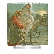 The Flight into Egypt Shower Curtain by John Lawson